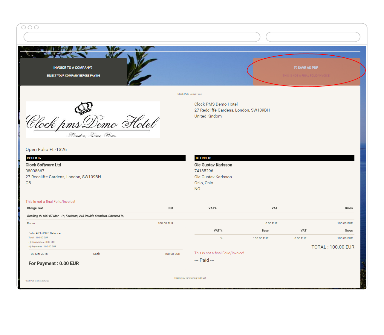 Invoice preparation before self checkout from hotel with Clock PMS