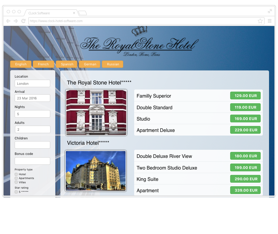 Clock CRS - The central web booking engine showing all properties of the group in a selected city