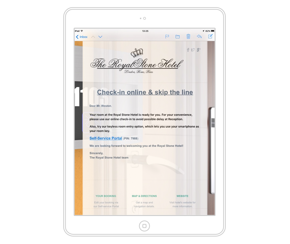 Preview of the hotel self check-in invitation email on a tablet