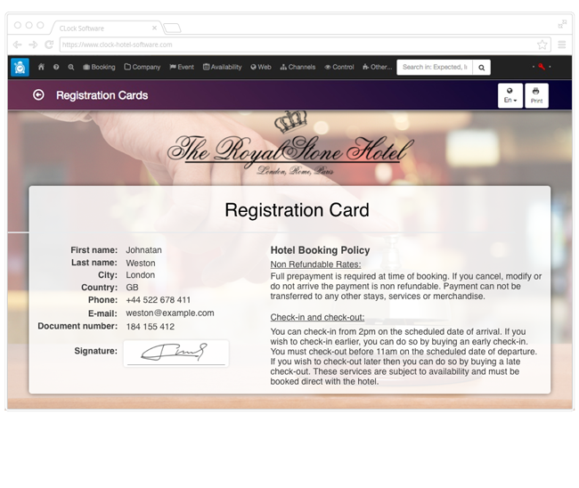 Preview of the registration card in the hotel software as part of the self check-in process.