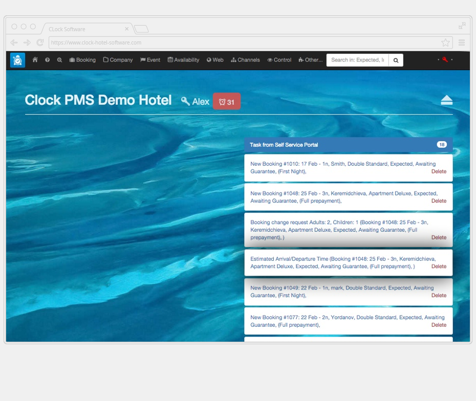 The Clock PMS desktop with notifications of room selection and other requests made by hotel guests through the self service portal