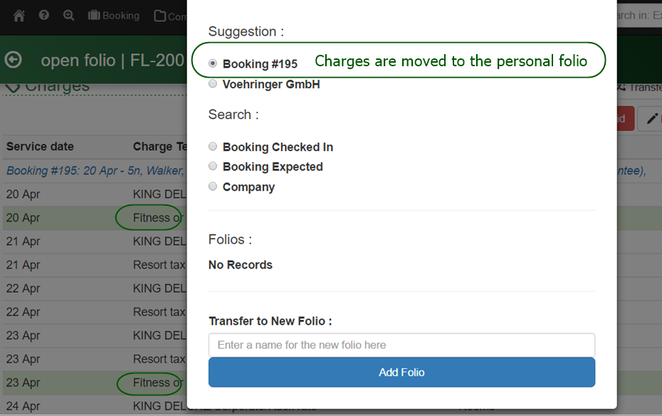 Splitting personal charges from a company to a personal guest folio