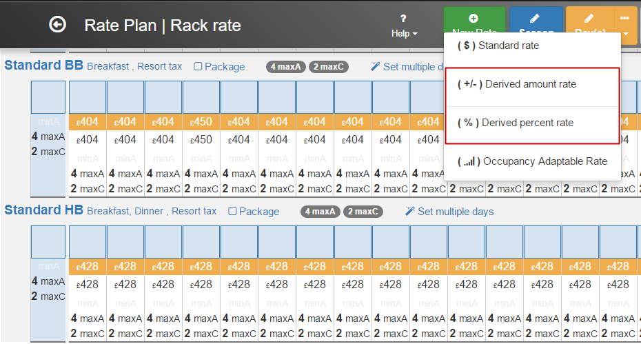 Creating new base rate to derive from in Clock PMS