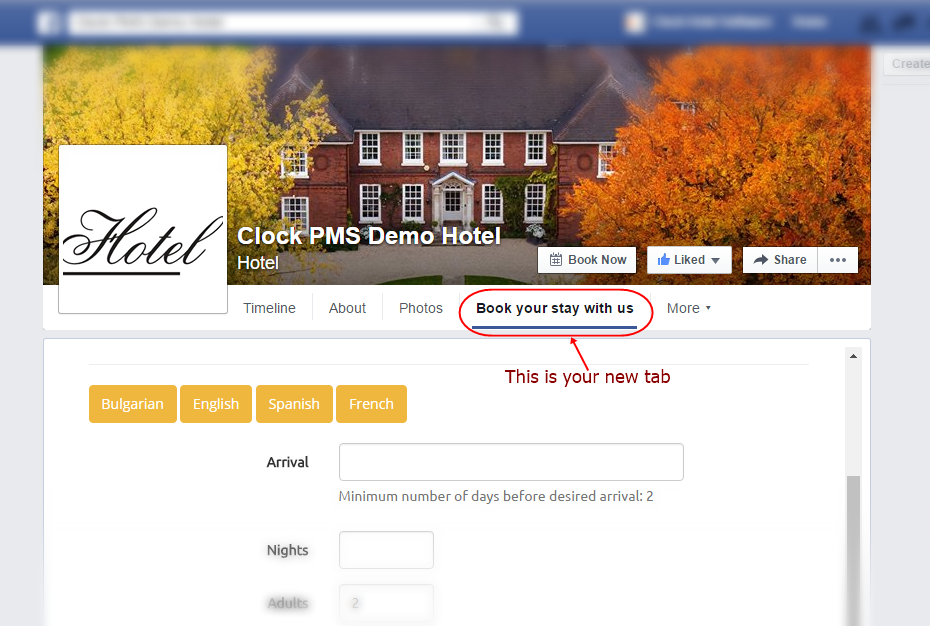 Hotel Facebook page with added booking tab for the reservation system