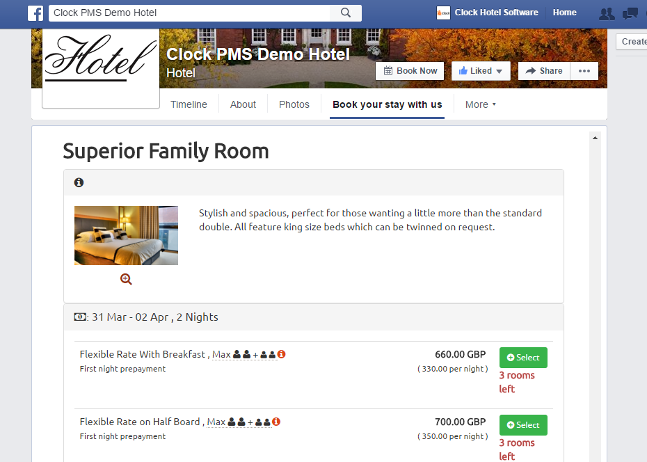 Hotel Facebook page with open Clock PMS web booking system