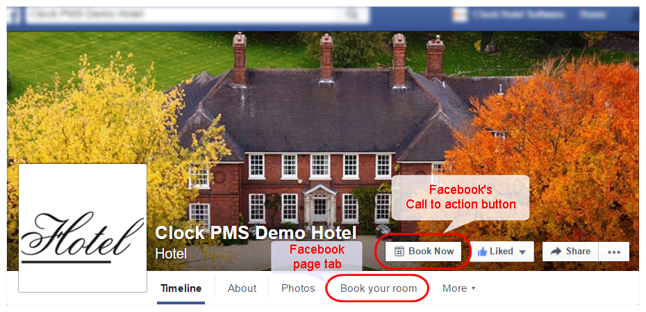 Hotel Facebook page with both booking engine integrations