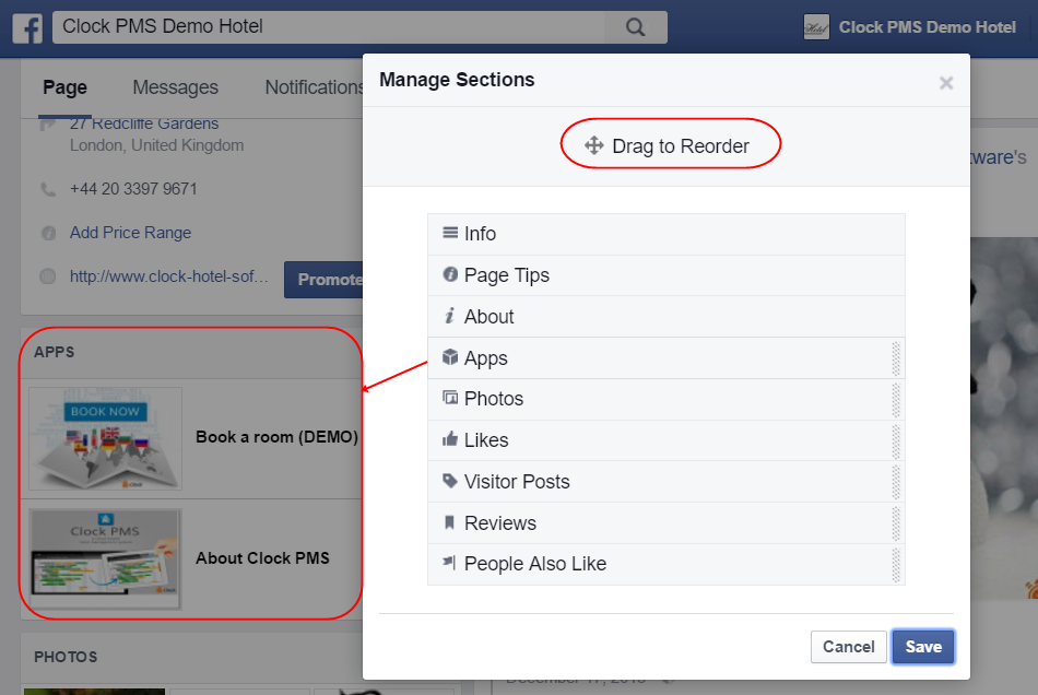 Facebook page tab managing screen