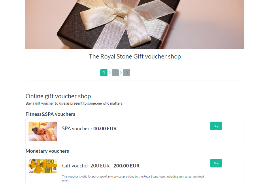Preview of the online hotel gift voucher shop in Clock PMS