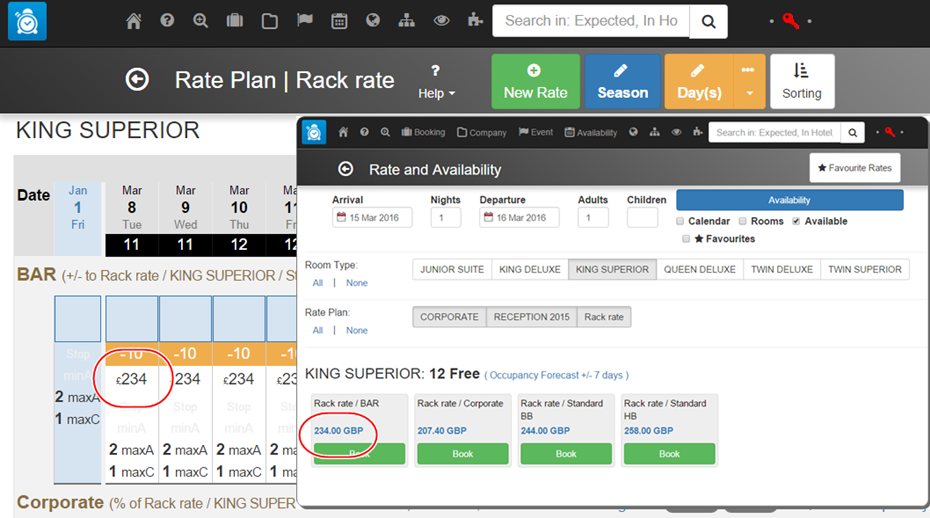 Room rate updates, manual or automated, are instantly reflected in the rate and availability search