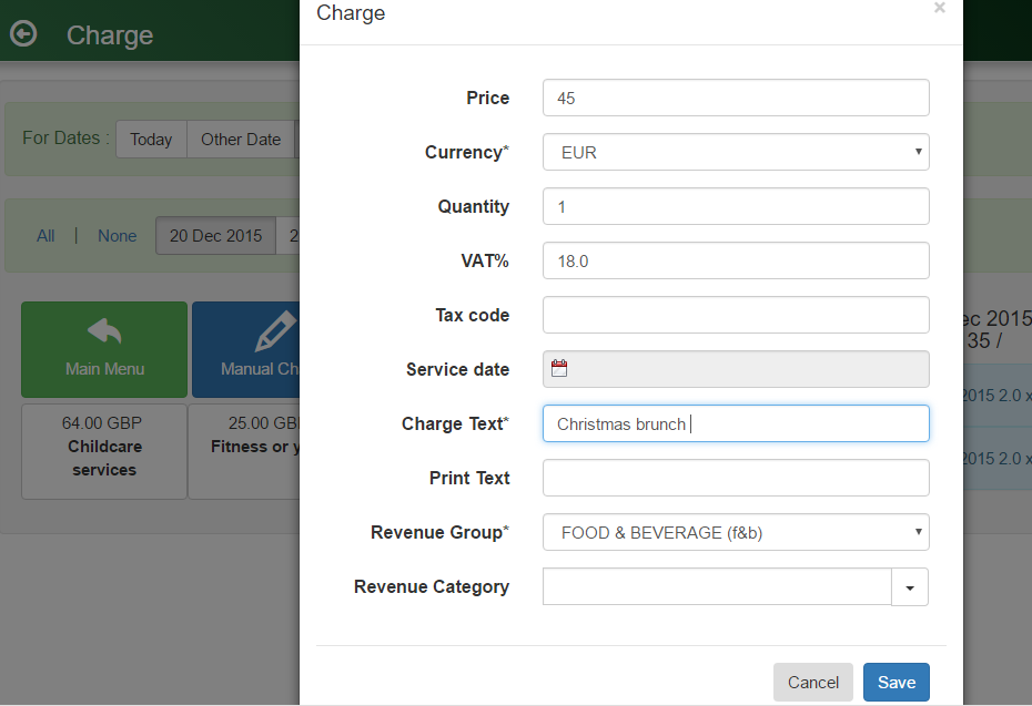 Adding a manual extra charge to a guest folio