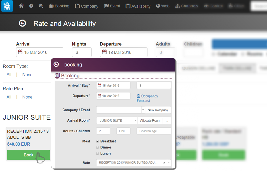 From the Rate and availability screen, new bookings with prefilled parameters are made with a click