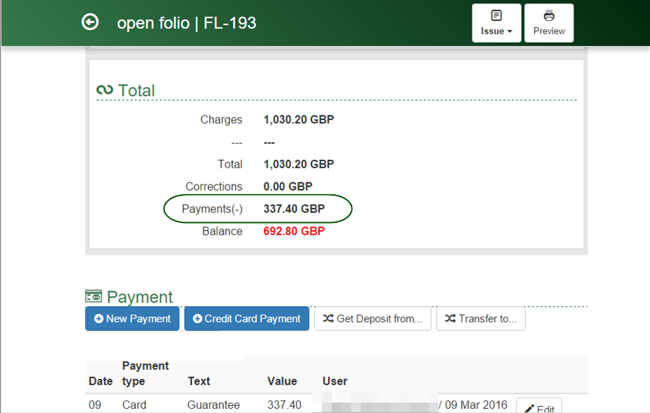 Preview of a guest folio with added deposit payment in Clock PMS