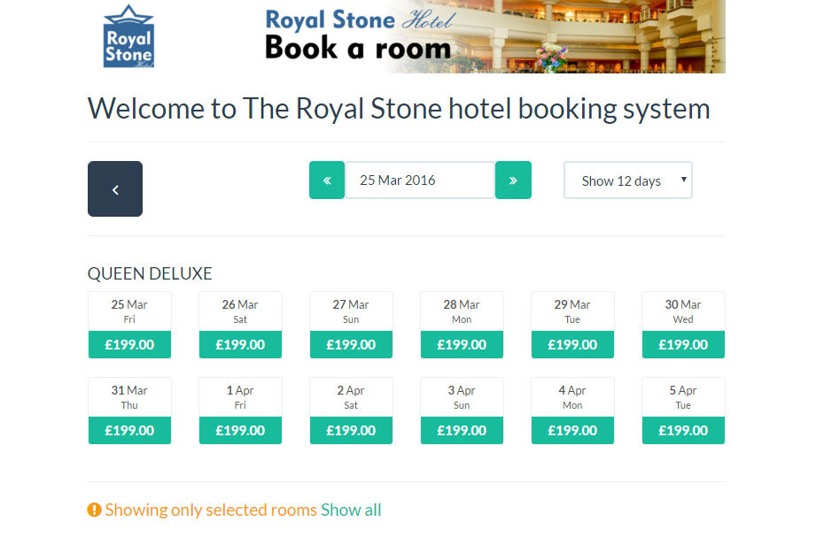 Integrated availability calendar for selected room type in Clock PMS booking engine