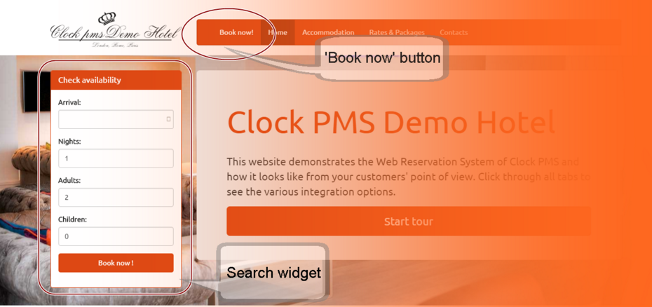 Search button and widget in Clock PMS web reservation system
