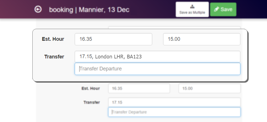 Guest bookings in Clock PMS hotel software contain travel arrangement information like transfer time and flight number