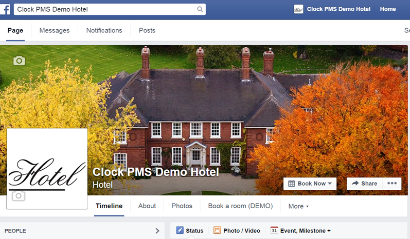 Clock PMS Facebook booking app demo page