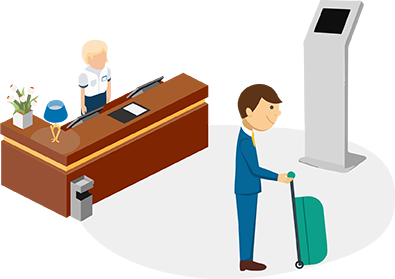 Illustration Of Self Service Hotel Check In At A Kiosk