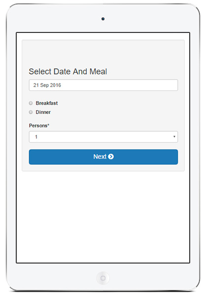 Restaurant table booking on a tablet