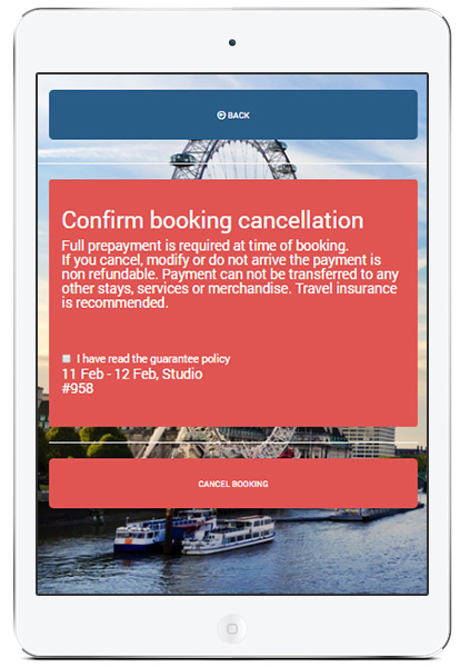 Booking cancellation in Clock PMS+ mobile app