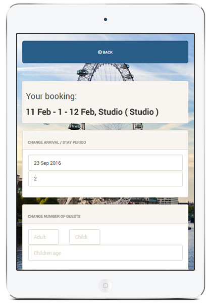 Mobile display with the 'Change of booking period' screen of the digital guest portal