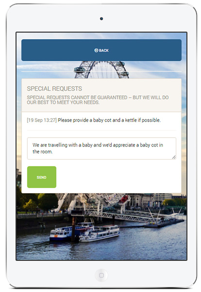 Adding special request to the hotel reservation through the guest self-service module