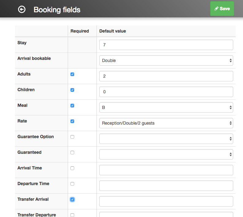 Required and default fields in booking