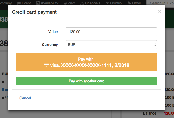 One click payment with tokenized credit card