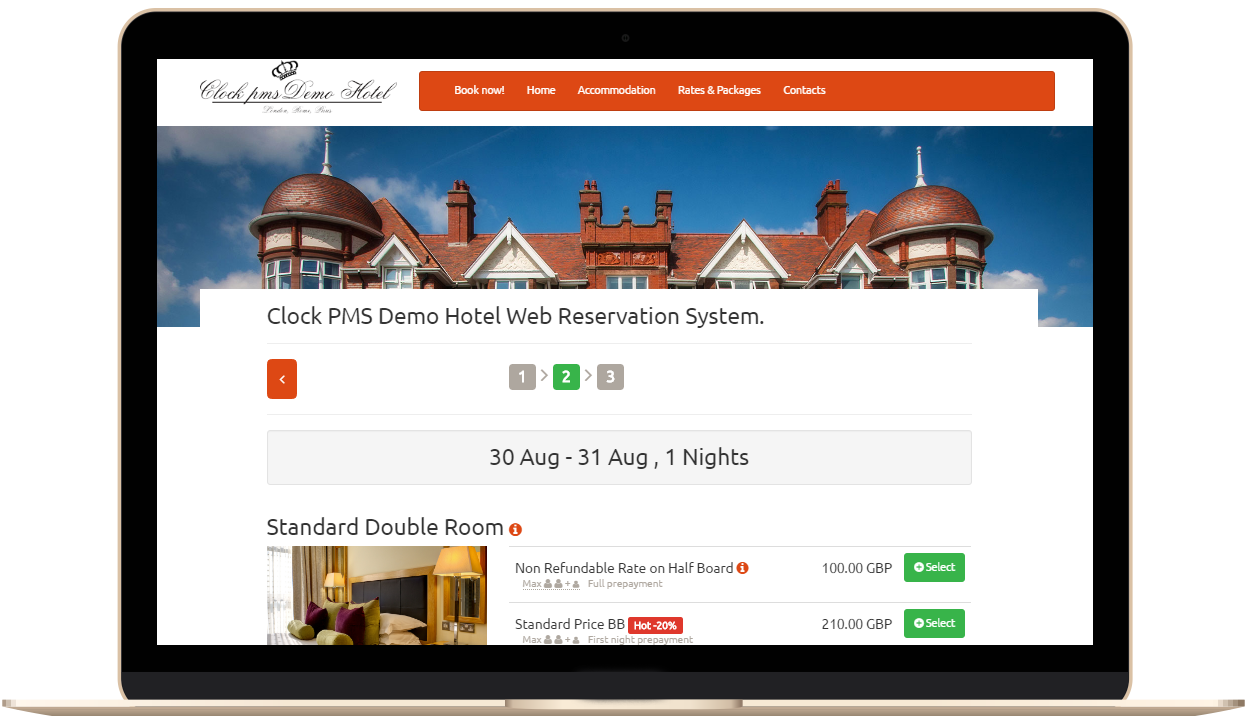 Laptop displaying the hotel web booking engine in Clock PMS Suite